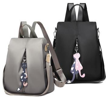 2019 nueva mochila antirrobo para mujer, mochila de moda simple de color sólido, bolso de hombro de tela Oxford