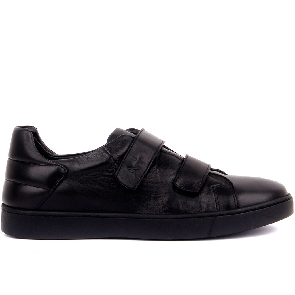 Sail-Lakers Black Leather Velcro Men 'S Daily Casual Shoes