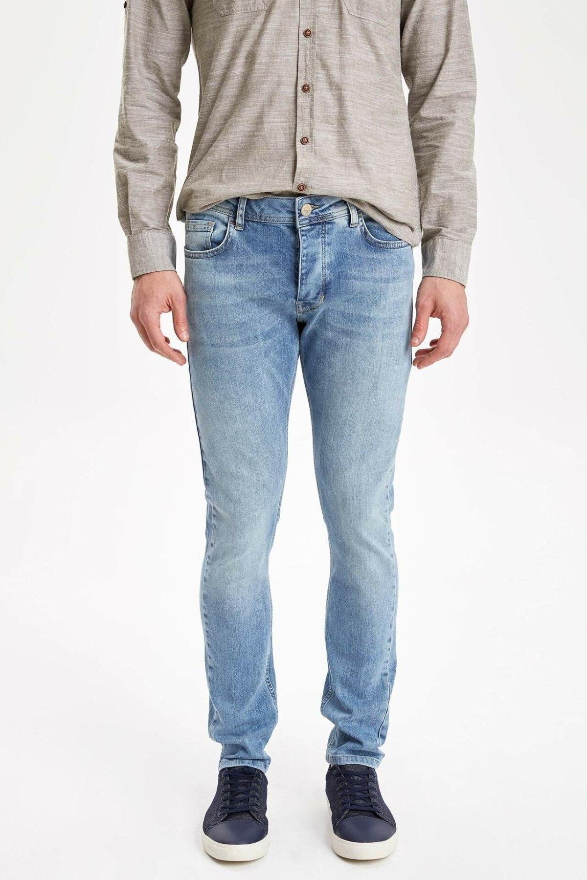DeFacto Man Autumn Light Blue Denim Jeans Men Summer Straight Denim Pants Female Washed Denim Trousers-K8698AZ19SM