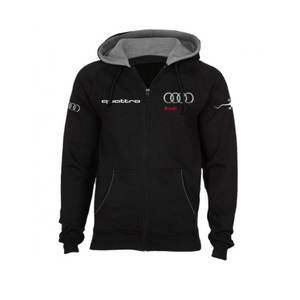 Audi QUATTRO Hooded Fleece Full Zip Black Sweatshirt