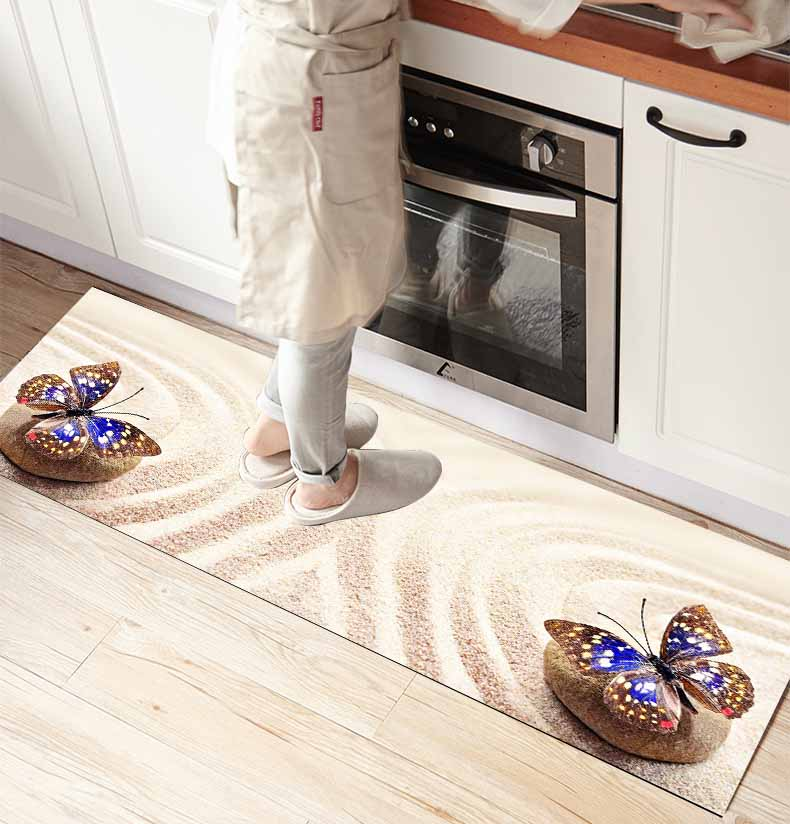 Else Yellow Beach Sand On Blue Butterfly 3d Print Non Slip Microfiber Kitchen Counter Modern Decorative Washable Area Rug Mat
