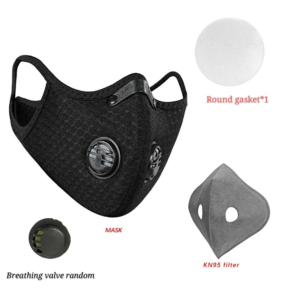 Black Motorcycle Mask Маска Dust Fog Protection Breathing Pollution Activated PM2.5 With Activated Carbon Filter Face Mask