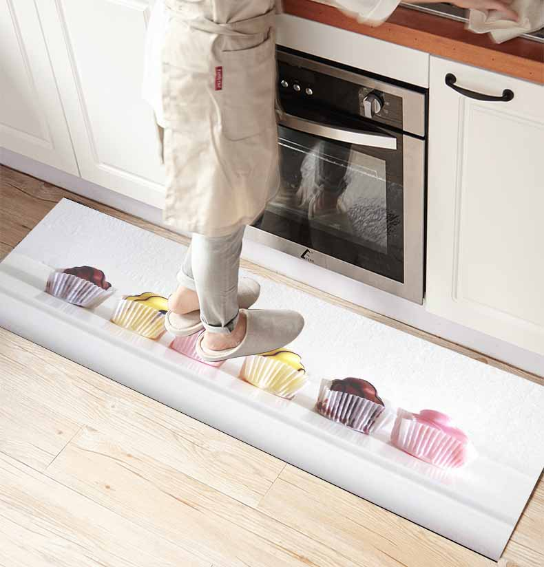 Else Gray Floor On Collored Cup Cakes 3d Print Non Slip Microfiber Kitchen Counter Modern Decorative Washable Area Rug Mat
