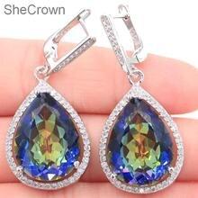 цена на 43x19mm Big Drop 17g Created Fire Rainbow Mystic Topaz White CZ Woman's Gift Silver Earrings