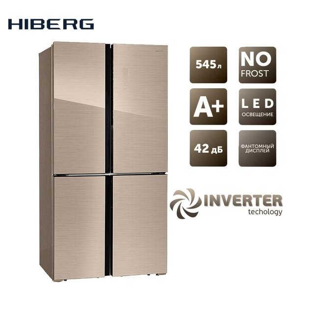 Инвертерный Холодильник HIBERG RFQ-500DX NFGY Inverter, 545 л, 4 двери, 2 камеры, А+ класс энергоэфективности, Total No Frost, LED подсветка, 2 отделения для овощей и фруктов