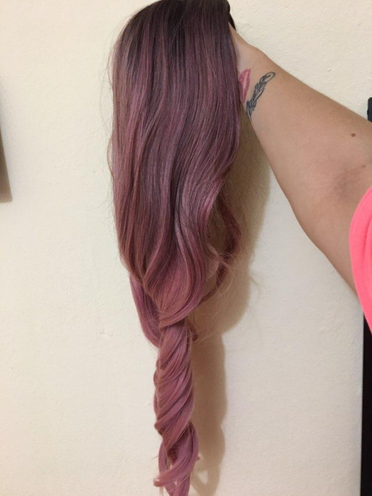 Front Lace Wig Fashion Cabelo Sintético Rosa Ondulado Raiz Preta 65cm photo review