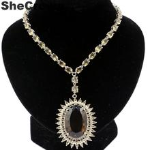 47x37mm Big Heavy 38.8g Created Smokey Topaz Woman's Wedding Silver Necklace 18-18.5inch 40x28mm