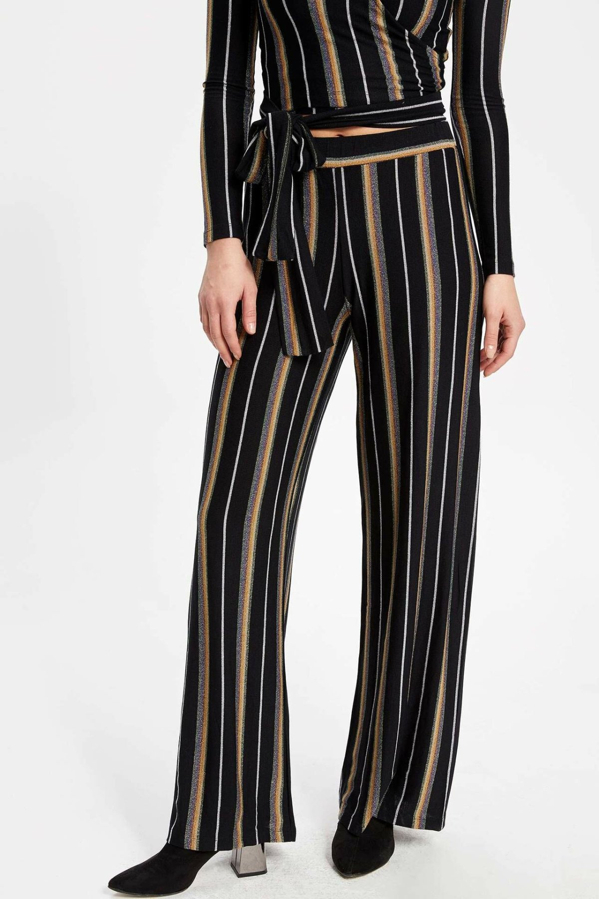 DeFacto Woman Casual Striped Long Pants Women Wide-leg Black Loose Pants Female Straight Bottoms Trousers-K9259AZ18CW