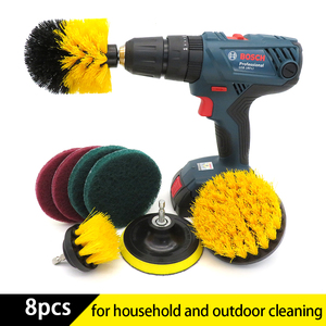 8PcsDrill brush power electric scrubber Brush Cleaning Kit for Kitchen Bathroom Surfaces Tub Shower Tile Drill Attachment Kit