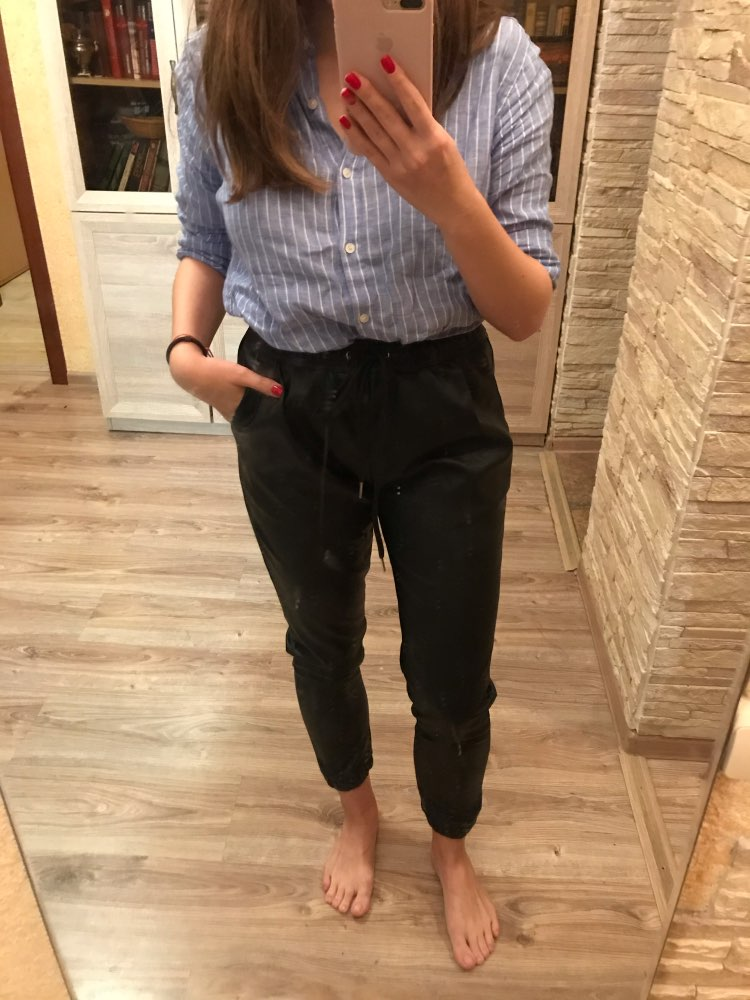 Vintage Stylish Pu Leather Pockets Pants Women Fashion Elastic Waist Drawstring Tie Ankle Trousers Pantalones Mujer photo review