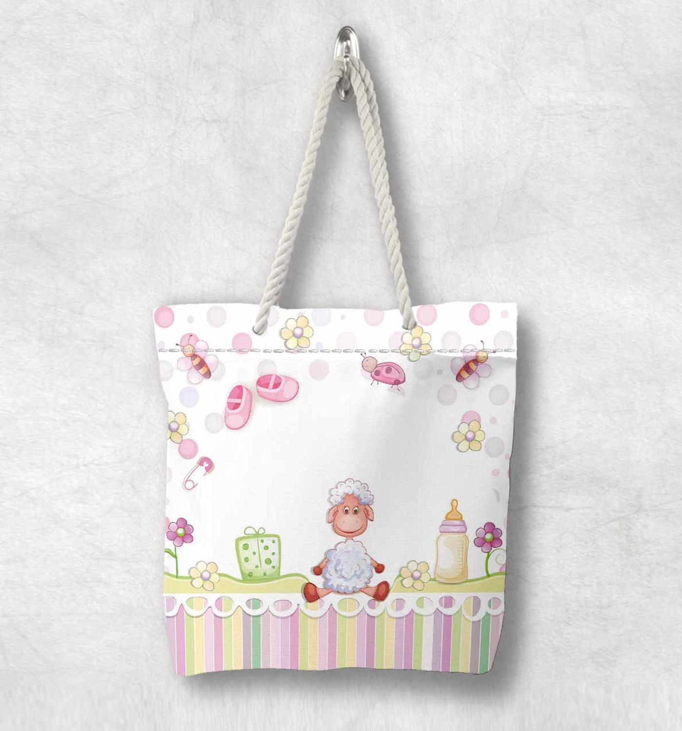 Else Little Sheep Funny Baby Lamp Pink Boots Fashion White Rope Handle Canvas Bag  Cartoon Print Zippered Tote Bag Shoulder Bag