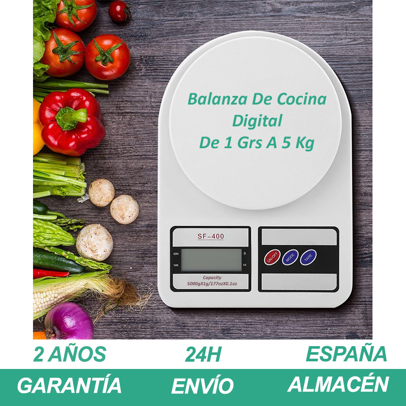 Bascula Cocina Peso Balanza Digital De 1 Grs A 5 Kg Blanco Con 2 Pilas AA Gramera Pesas Kitchen Food Scale AliExpress PlazaSpain
