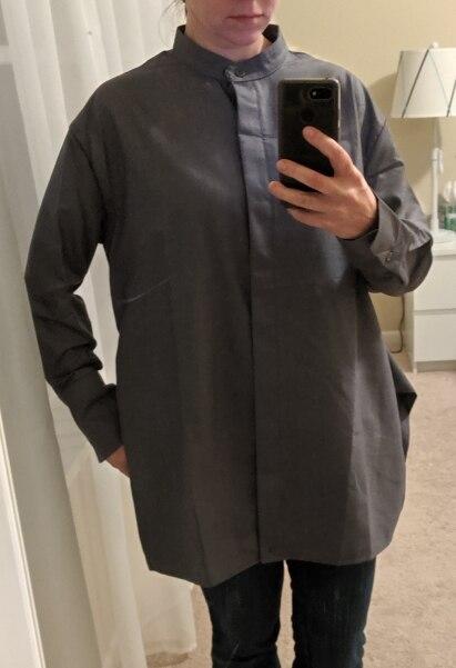 Gray Cross Waist Irregular Design Stand Collar Shirt Asymmetrical Temperament Personality Women Blouse photo review
