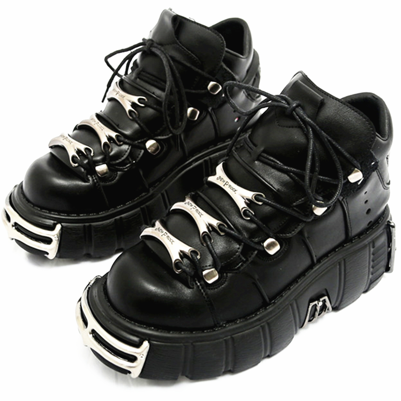 RASMEUP 2020 Punk Style Women Sneakers Lace-up 6CM Platform Shoes Woman Creepers Female Casual Flats Metal Decor Tenis Feminino