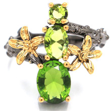 цена 21x19mm Sublime Antique Vintage Green Peridot Flower Gift For Sister Black Gold Silver Rings онлайн в 2017 году