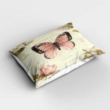Fundas de almohada Vintage Beige rosa mariposa flores florales rectangulares modernas fundas de almohada de estampado digital 3d fundas para sofá cama
