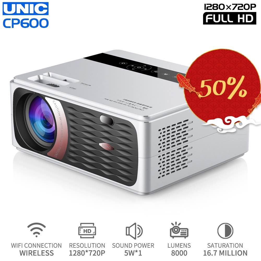 Unic Cp600 720p LED full HD Projector 4K 8000 Lumens Portable Cinema Proyector Proektor смарт домашний проектор With WiFi Hdmi image