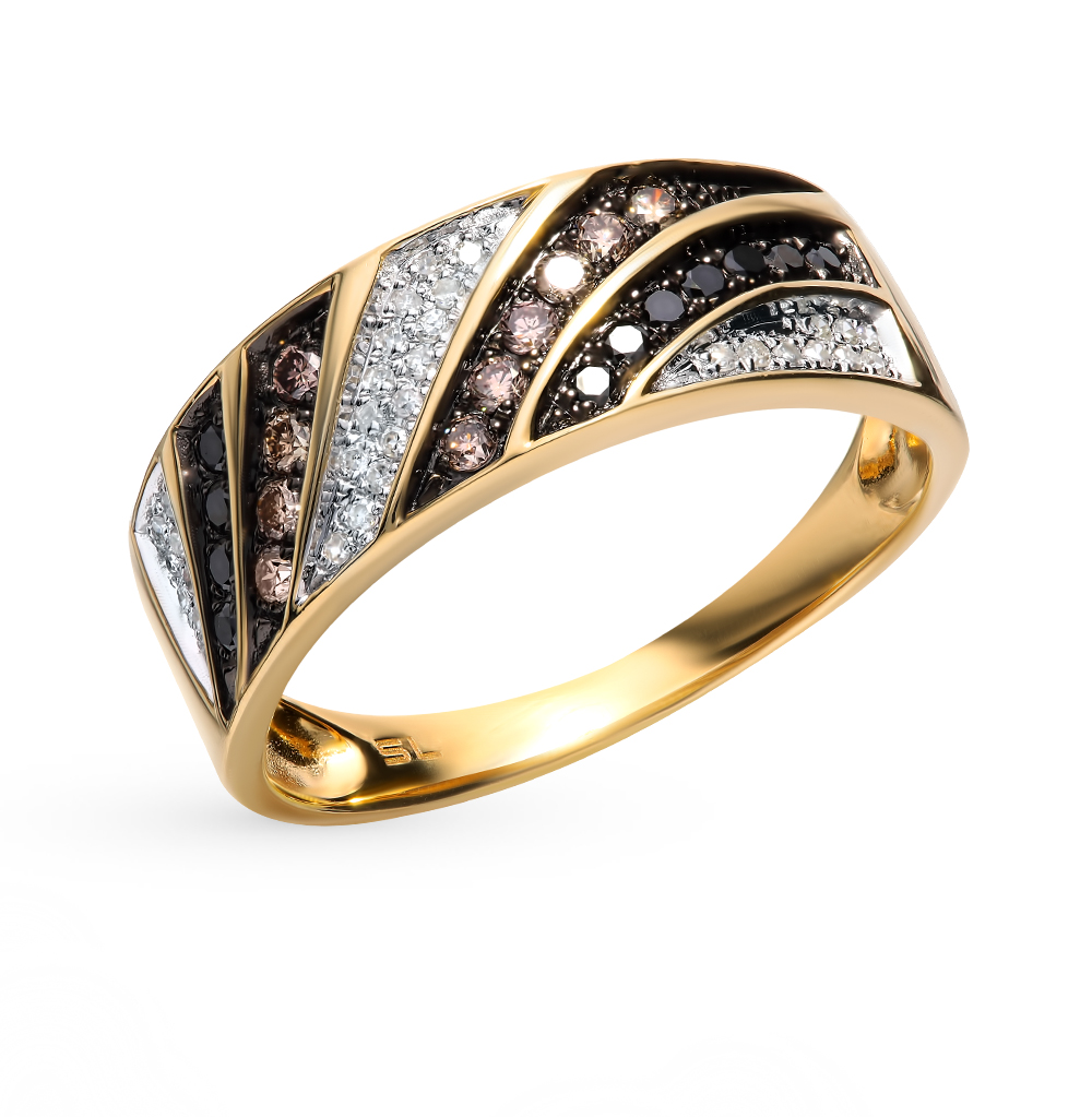 Gold Ring With Black And Cognac Diamonds Sunlight Sample 585