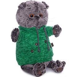 Soft toy Budi Basa Cat Basik green sweatshirt with pocket