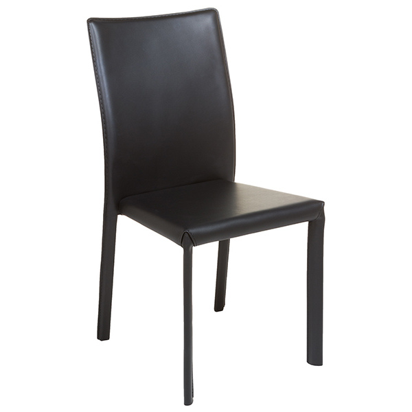 Dining Chair Polyskin Metal Black (42 X 45 X 91 Cm)
