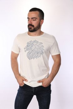 Angemiel Wear Blue Tones Lineal Lion Cotton White Men 'S T-Shirt image