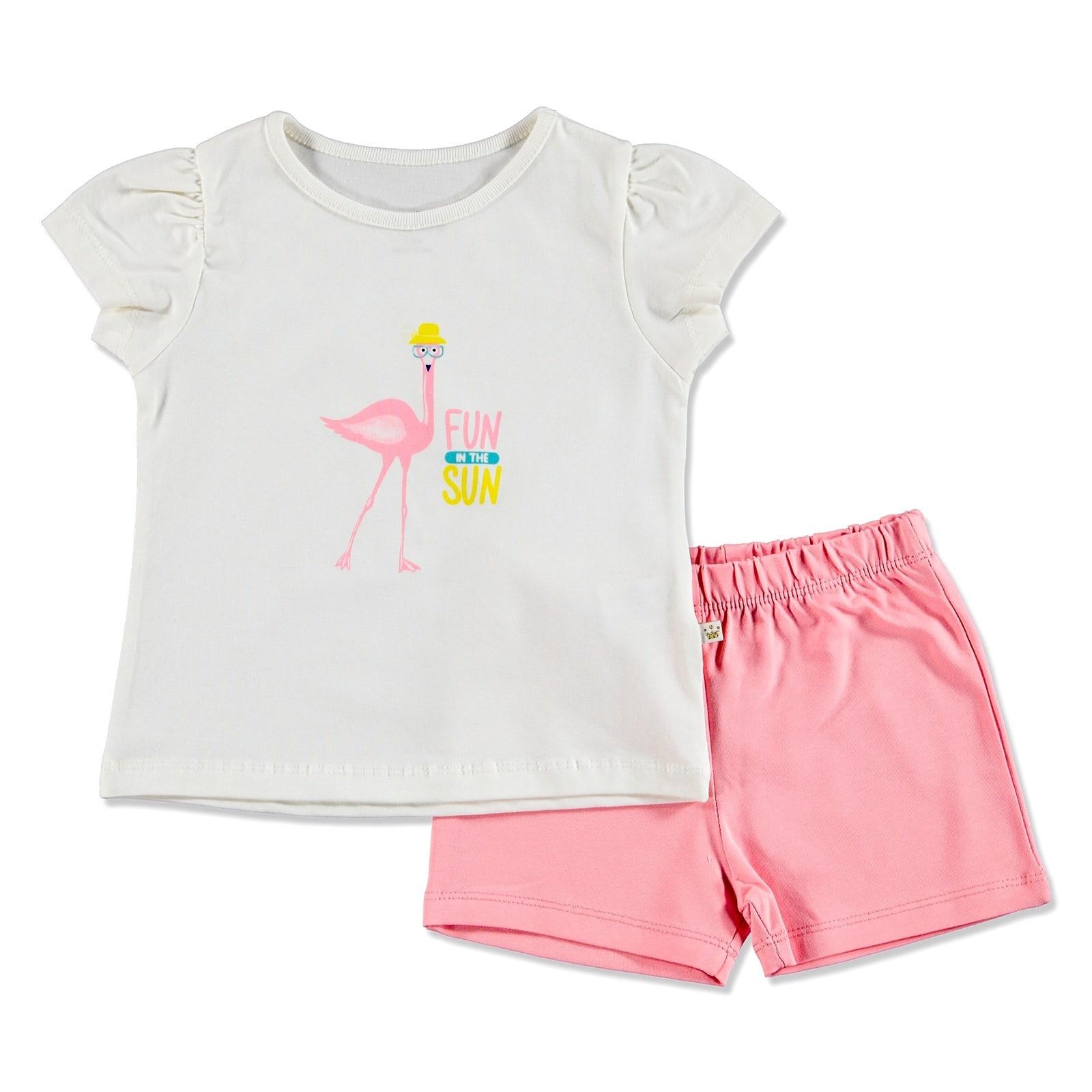 Ebebek For My Baby Summer Girl Flamingo T-shirt Short 2 Pcs Set