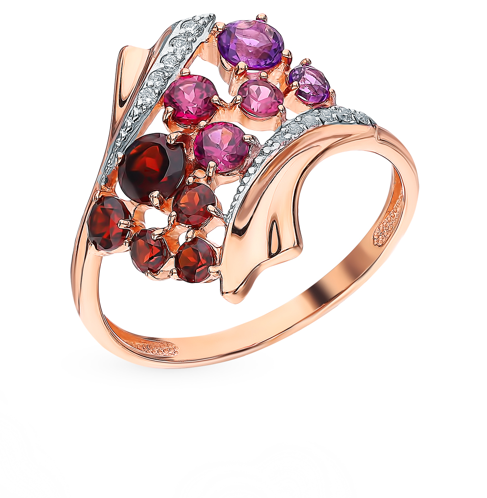 Gold Ring Rhodolite, Amethyst, Cubic Zirconia And Garnet SUNLIGHT Test 585