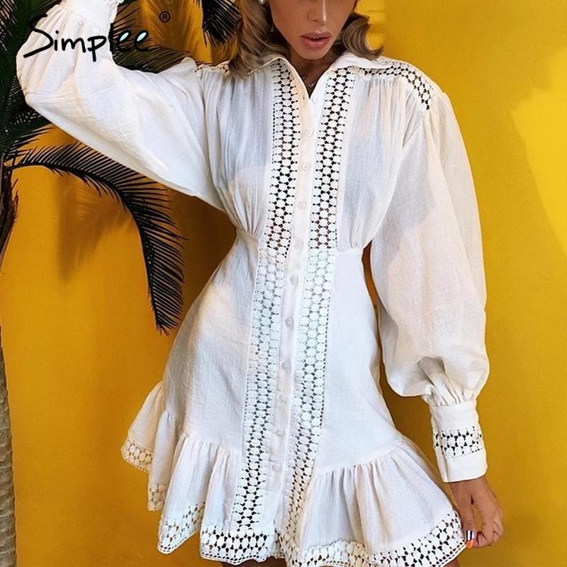 Elegant Cotton Lace Women Dress Long Lantern Sleeve Ruffle A Line White Short Dress Hollow Out Party Winter Dresses photo review