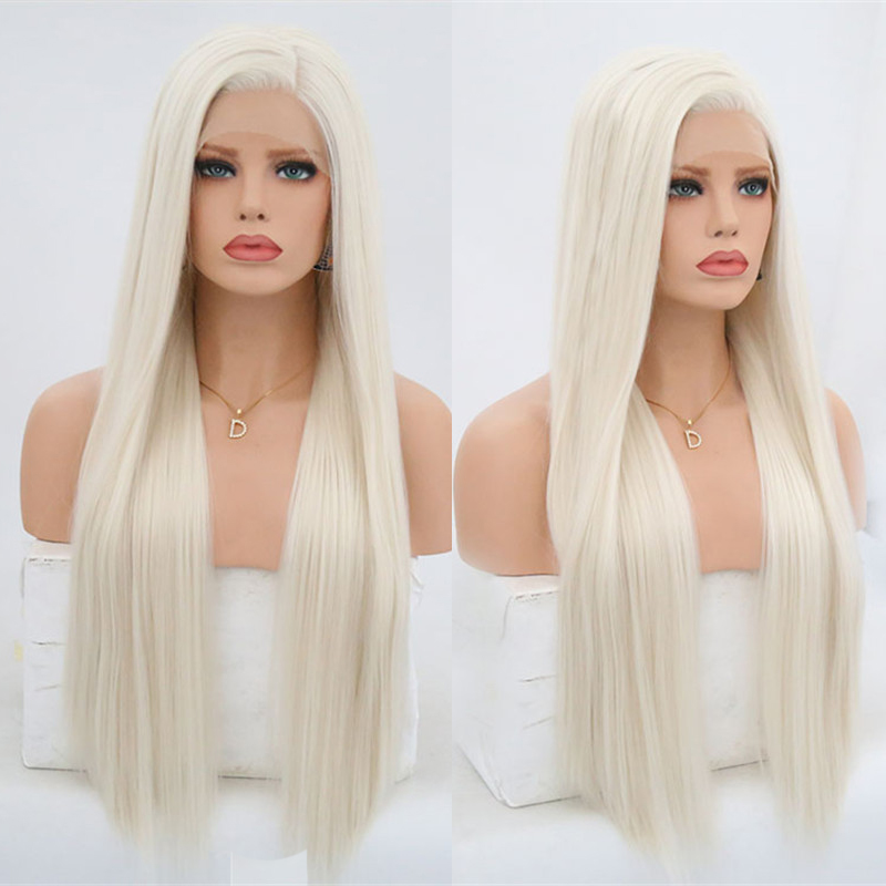 Rongduoyi #60 Platinum Blond Synthetic Lace Front Wigs For Women Silky Straight Side Part Heat Resistant Long Blonded Hair Wig