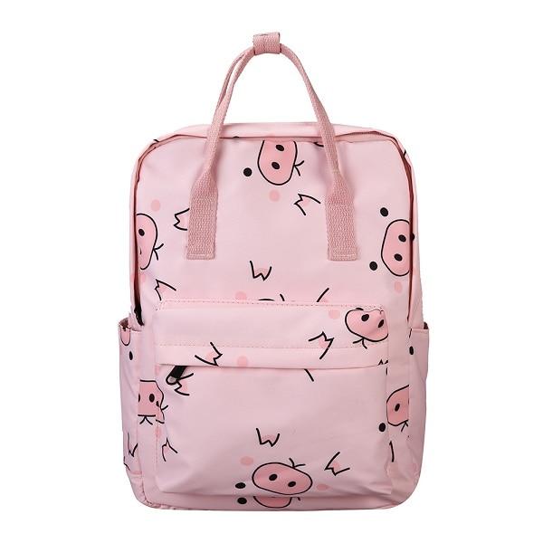 Pig Print Canvas School Backpack - womens-school-backpacks, womens-canvas-backpacks, womens-bags, new-arrivals, mens-school-backpacks, mens-canvas-backpacks, mens-bags, google-feed-new