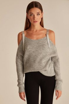 Joinus Off Shoulder Knitted Jumper With Tie Detail Woman Grey tasseled tie embroidered yoke eyelet jumper