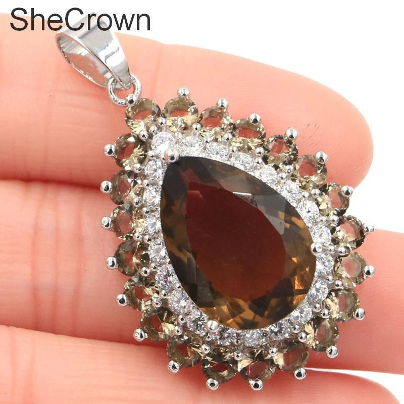 41x25mm Hot Sell Drop Shape 18x13mm Created Smokey Topaz CZ Gift Silver Pendant in Pendants from Jewelry Accessories