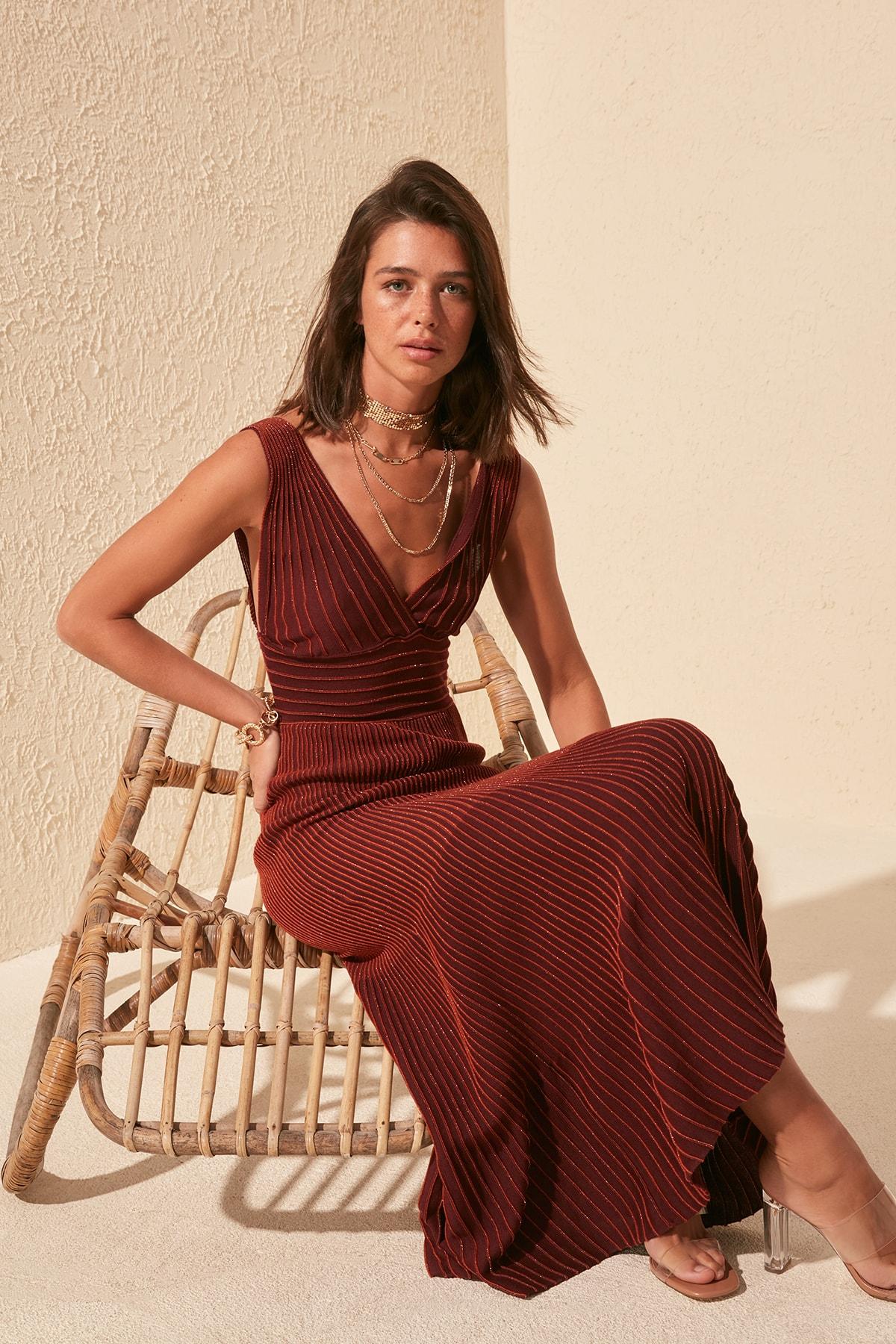 Trendyol Silvery Knitwear Dress TWOSS20EL1771