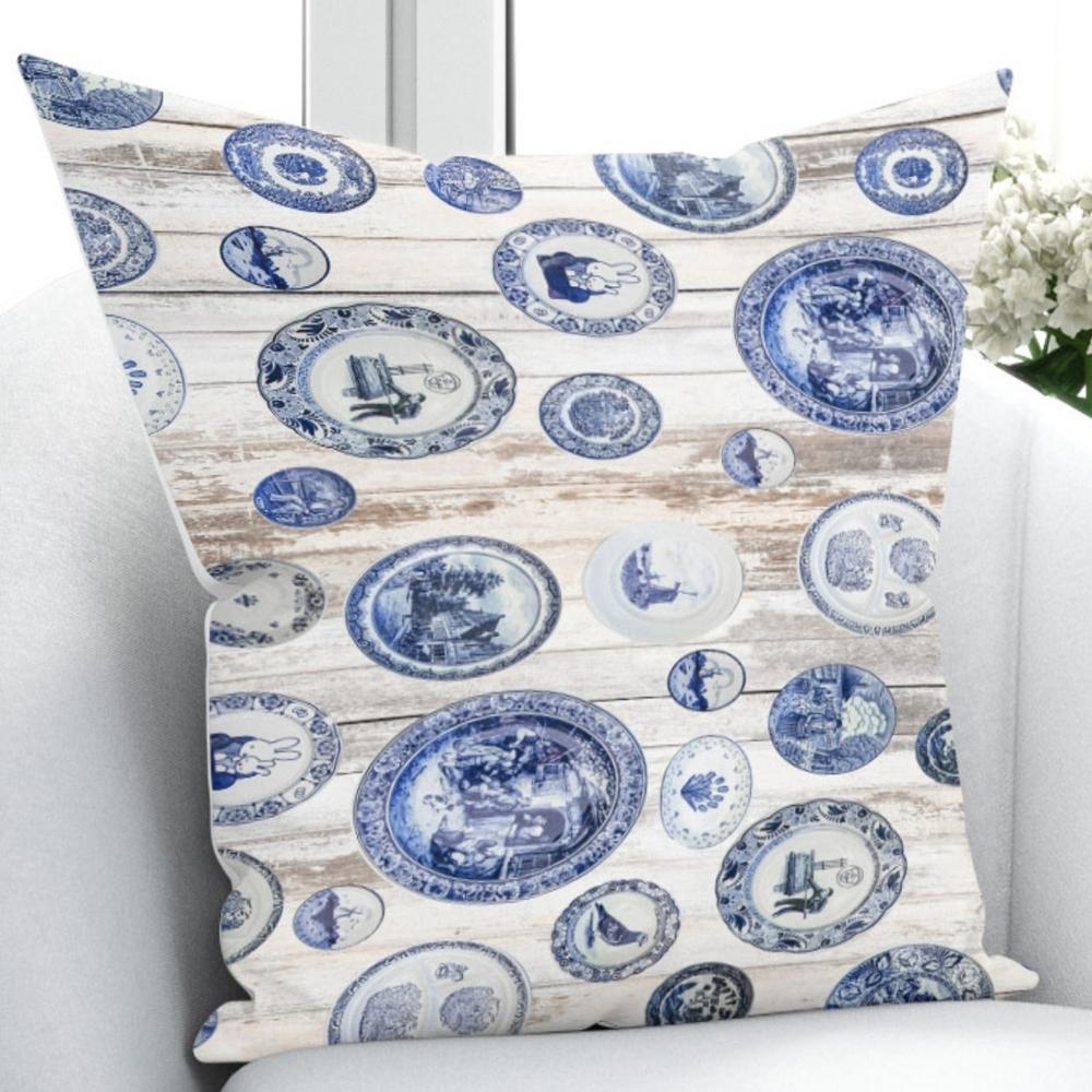 Else Blue White English Vintage Design 3D Print Throw Pillow Case Cushion Cover Square Hidden Zipper 45x45cm Pillow Case     - title=
