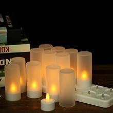 4/6/12 шт светодиодный свечи мерцающие свечи светодиодный Свечи Фонари USB 5V Перезаряжаемые с пультом дистанционного управления Управление