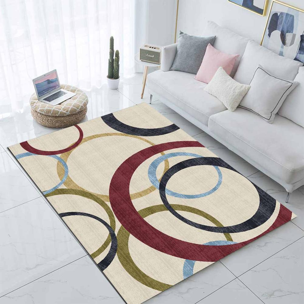 Else Brown Blue Green Circle Ring Geometric 3d Print Non Slip Microfiber Living Room Modern Carpet Washable Area Rug Mat