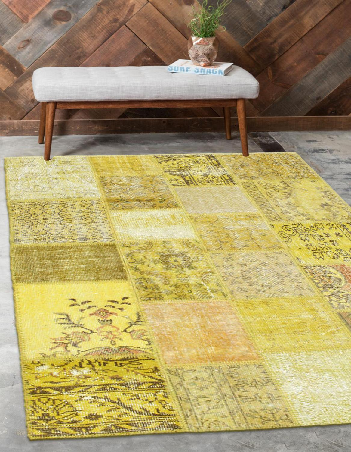 Else Yellow Anatolian Patchwork Rug Turkish Handmade Organic Area Rug Decorative Home Decor Wool Patchwork Rug Carpet