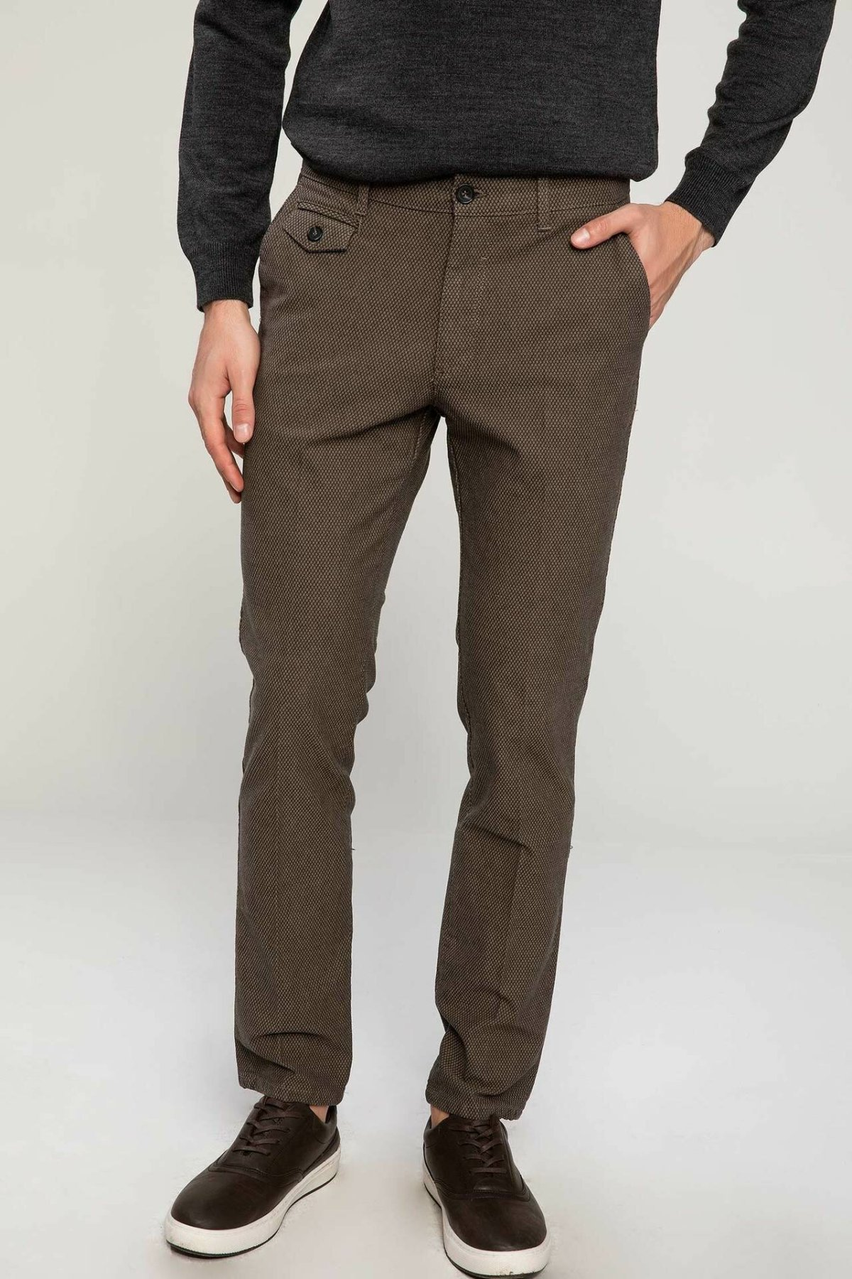 DeFacto Men Fashion Cargo Pants Button Casual Trousers Loose Straight Leisure For Men's Cotton Trousers New - J1534AZ18WN