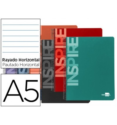 SPIRAL NOTEBOOK LEADERPAPER A5 MICRO INSPIRE HARDCOVER 160H 60 GR HORIZONTAL 5 BANDS 6 DRILLS ASSORTED COLORS