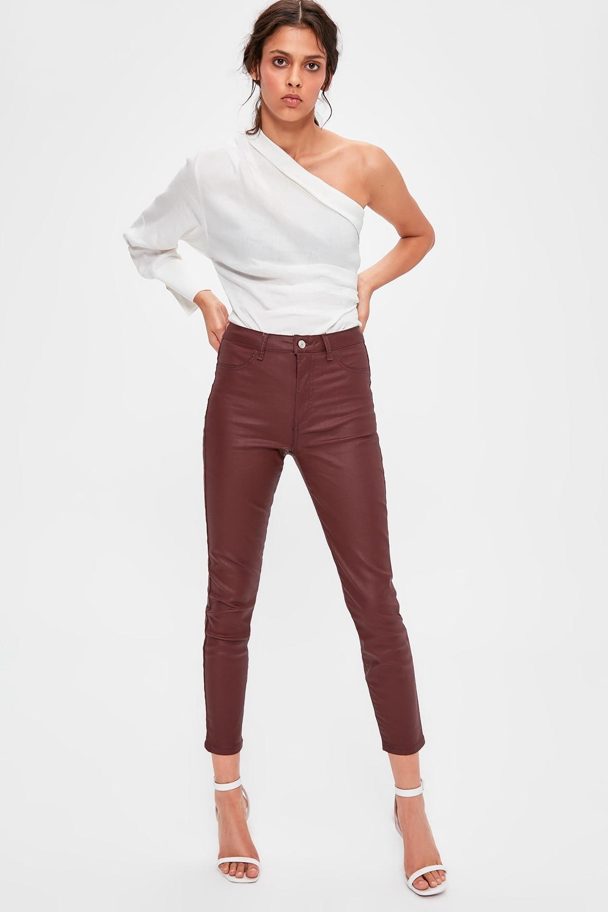 Trendyol Burgundy Sıvamalı Normal Waist Jegging Jeans TWOAW20JE0258