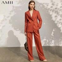 Amii Minimalismus Frühling Neue Blazer Frauen Offizielle Dame Solide Revers Anzug Mantel Frauen Hohe Taille Lose Weibliche Hosen 12140159