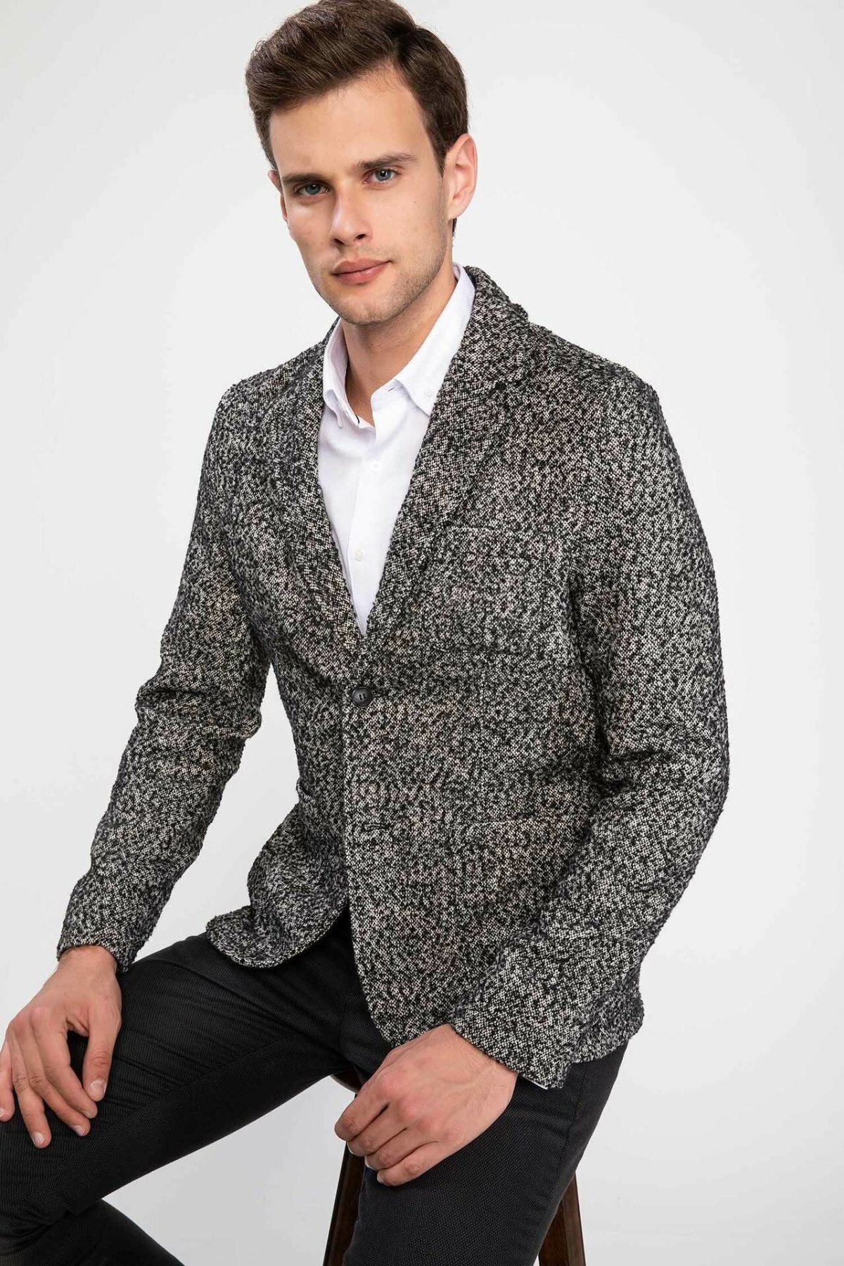 DeFacto New Fashion Luxury Men Blazer Brand High Quality Gray Slim Casual Men Suit Blazers Men Spring Autumn - I6680AZ17CW