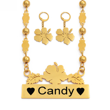 Anniyo Customize Name Necklace Earrings Micronesia Guam Hawaiian Flower Jewelry Sets for Print Letters Birthday Gift #116621
