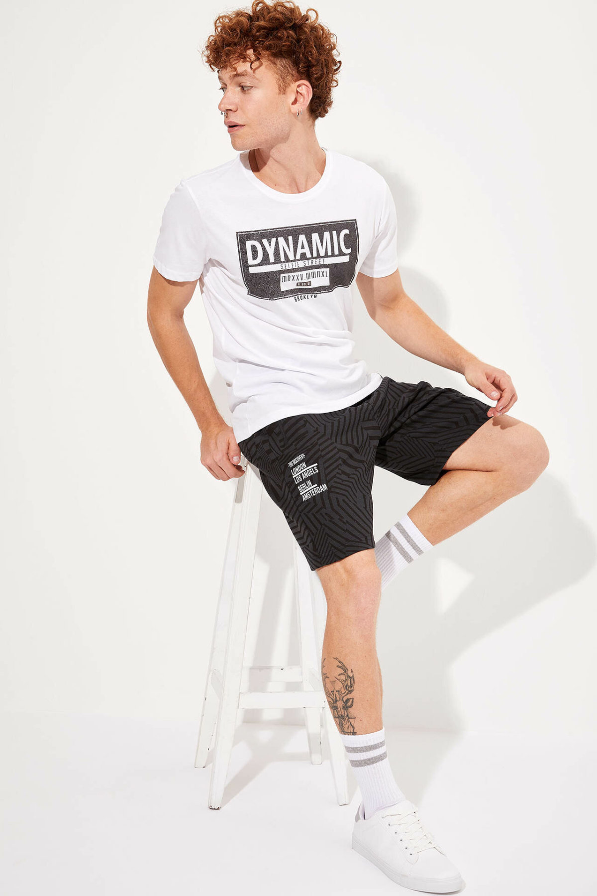 DeFacto Man Summer Striped Casual Shorts Men Black Color Short Bottoms Male Lace-up Short-L0745AZ19HS