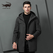 Mens Autumn Winter Cotton Jacket Hooded Warm Long Selected with Hat Clothing for Men 9531 Cartelo New 2019
