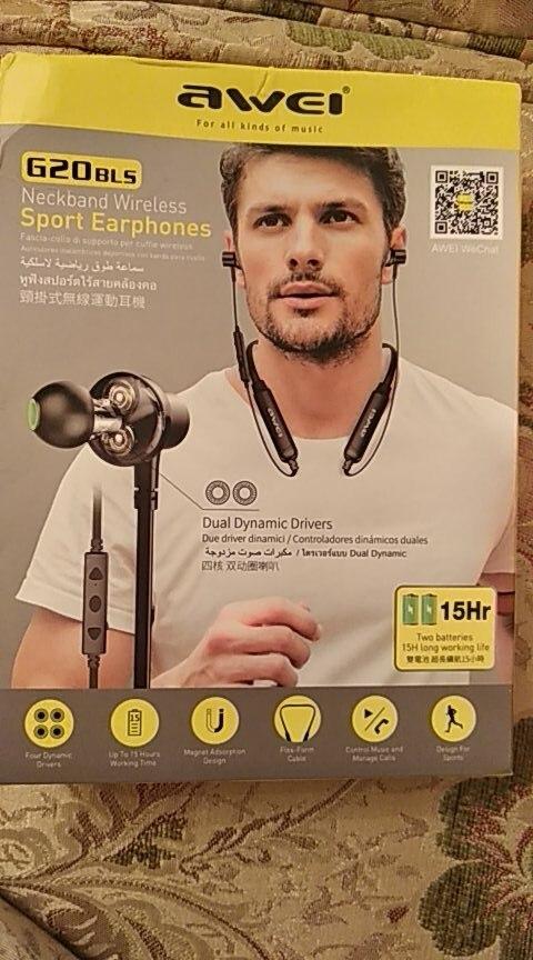 AWEI G20BLS Wireless Bluetooth Earphone Headphones With Microphone Dual Driver Noise Cancel Headset 3D Stereo Magnetic Earphones Bluetooth Earphones & Headphones    - AliExpress