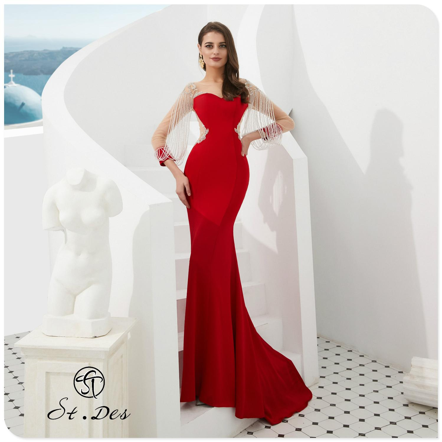 NEW 2020 St.Des Mermaid Russian Red Sweetheart Tassel Beading Full Sleeve Designer Floor Length Evening Dress Party Dress