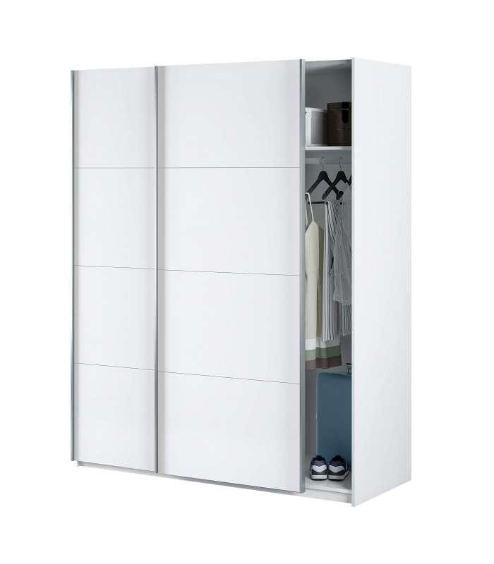Wardrobe font b closet b font with two sliding doors Arya 150 cm in white artik