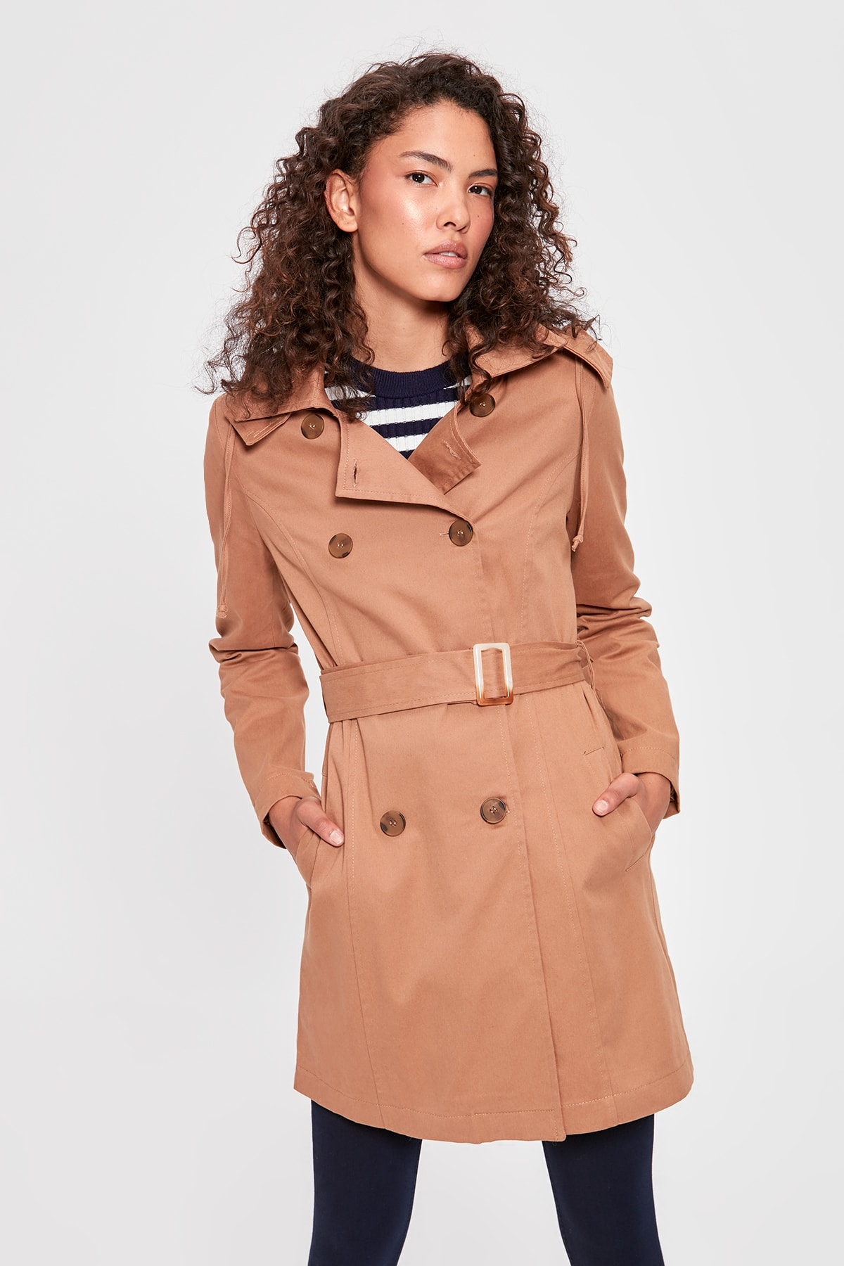 Trendyol Camel Hooded Arched Trench TWOAW20TR0024