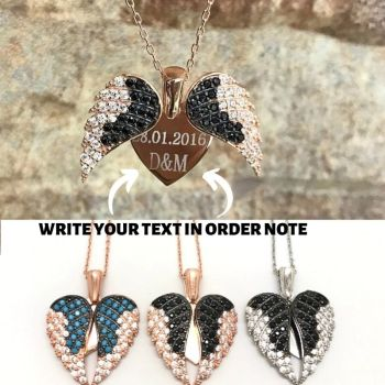 Angel Wing for Women Necklace Rose Gold Color Personalized 925 Sterling Silver Heart Colar Jewelry Christmas Gift Birthday bisaer 100%real 925 sterling silver rose gold color heart apple sakura shape pendant necklace for women fashion gift hsn313